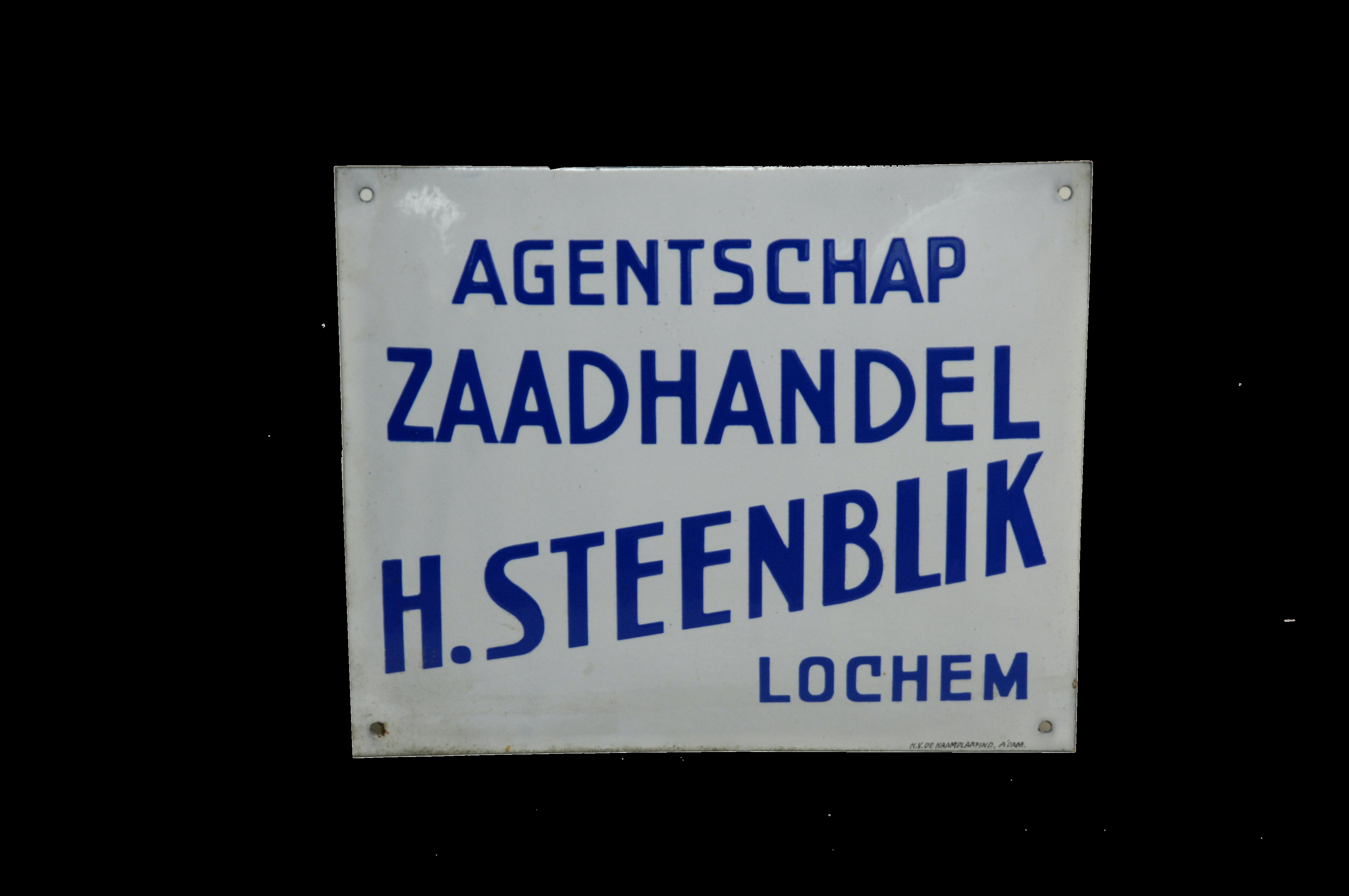 Agentschapsbordje van H. Steenblik